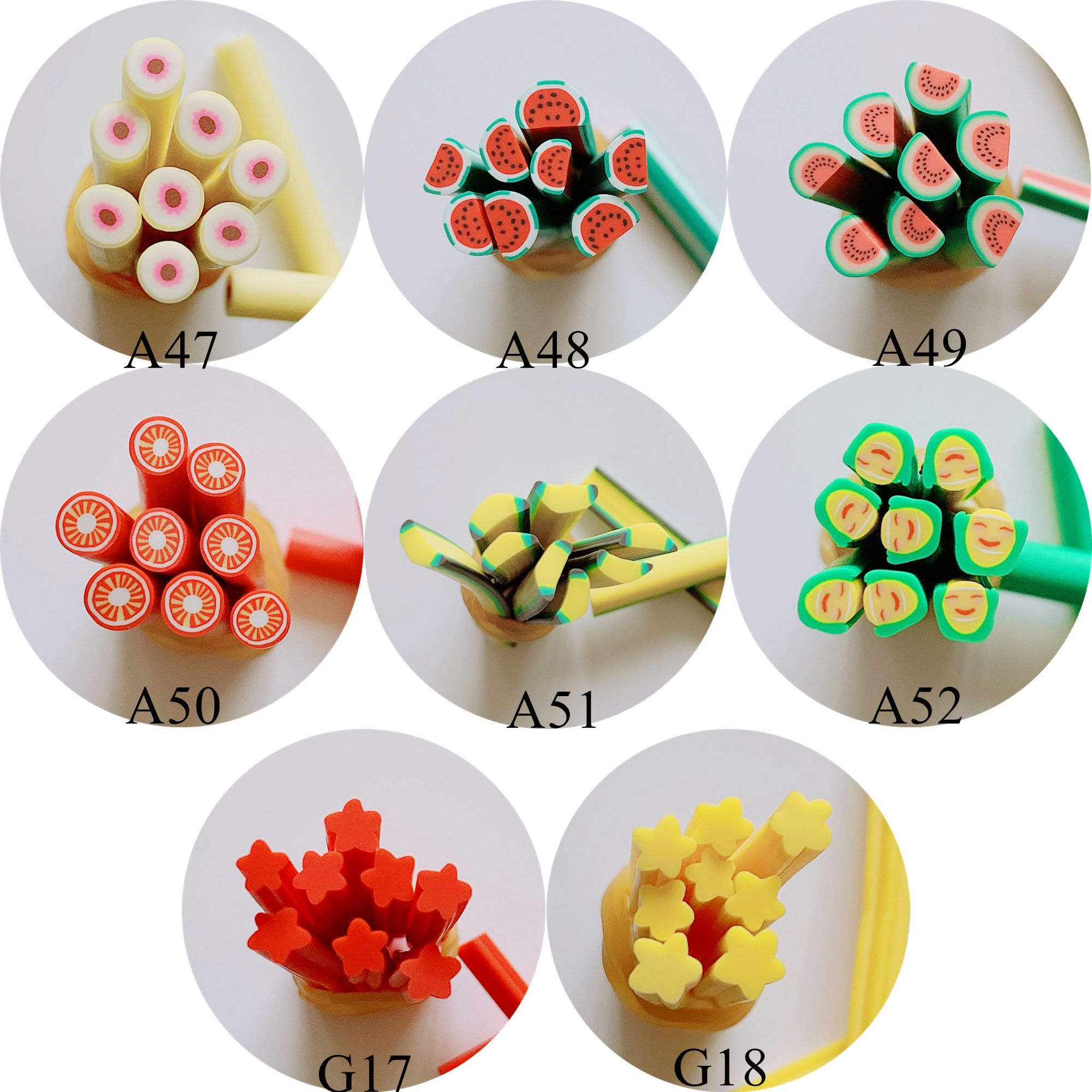 5pcs 5mm Cute Round Cane Fancy Nail Art Polymer Clay Cane Nail Art Decoration New Fruit Series Peach Banana Star