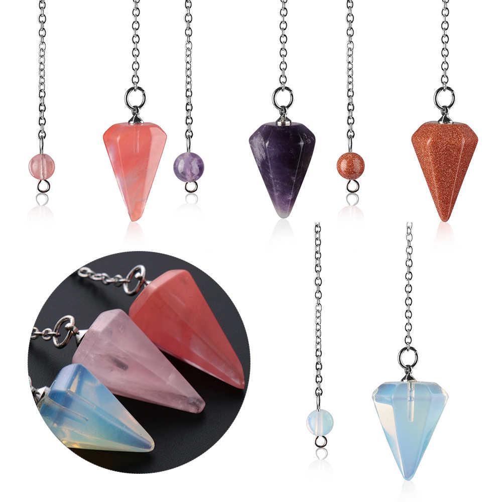 1PC 天然石水晶ロック短気結晶六角形のレイキチャクラペンダント振り子のためのユニセックス