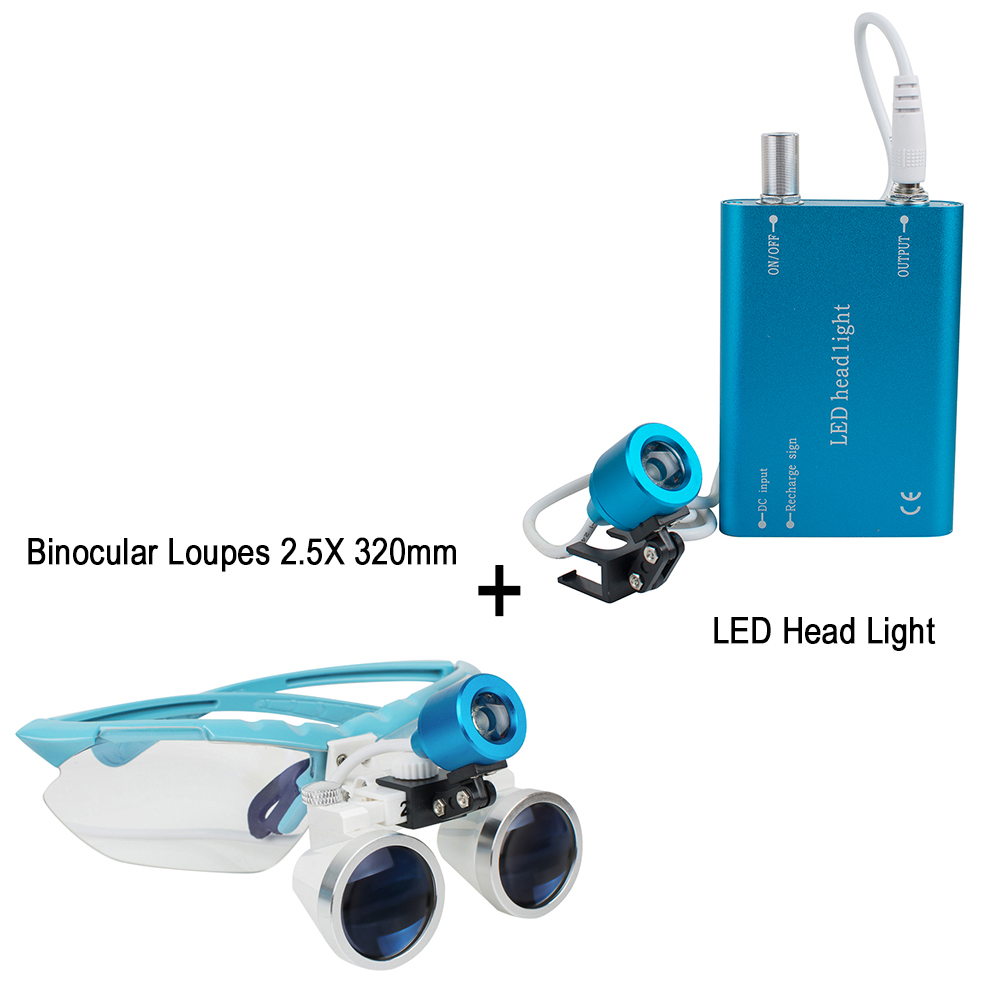 New  Blue Dentist Dental Surgical Medical Binocular Loupes 2.5X 320mm Optical Glass Loupe With LED Head Light LampNew  Blue Dentist Dental Surgical Medical Binocular Loupes 2.5X 320mm Optical Glass Loupe With LED Head Light Lamp