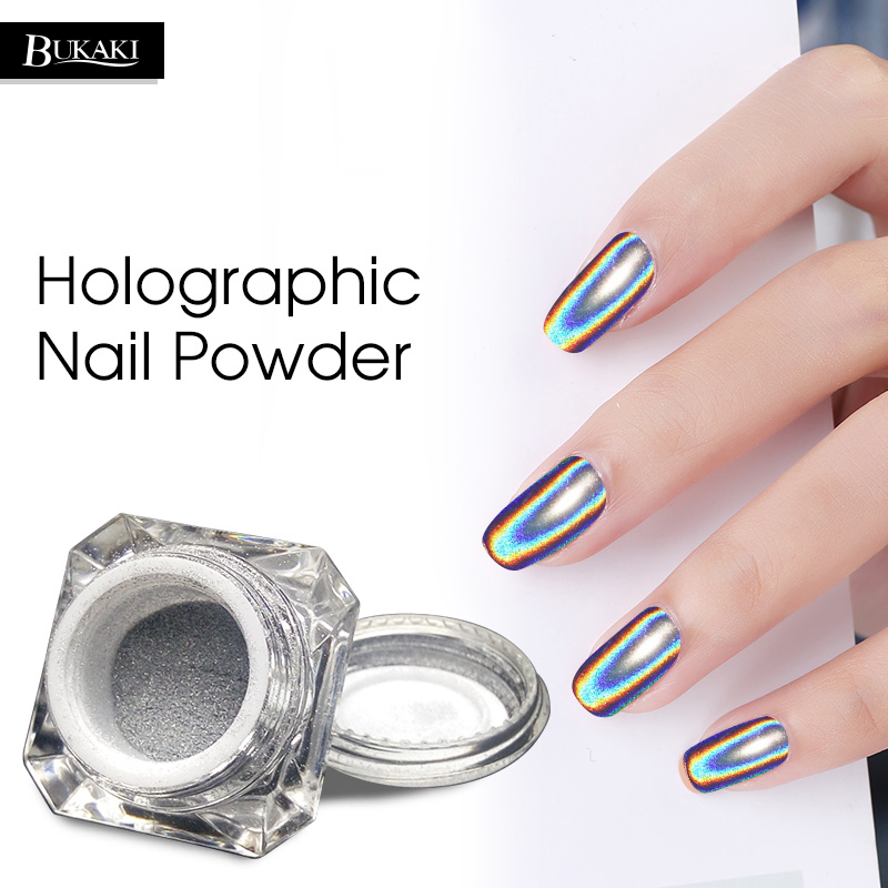 BUKAKI Neon Chrome Powder Nail Glitter UV Gel Polish Rainbow Colorful Effect Chameleon Mirror Powder Manicure