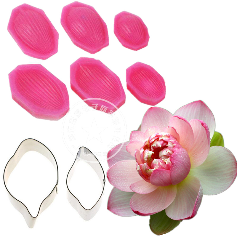 Water Lily Lotus Petal Flower Veiner & Cutter Fondant Sugarcraft Тот баспайтын болат кескіш DIY Cake Decorating Tools sets