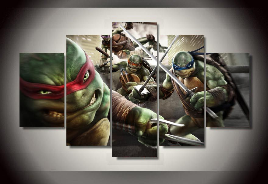Modern Decorative Picture Cartoon Teenage Mutant Ninja Turtles Group Painting Room Decor Print Film Poster Canvas Modular