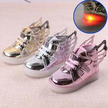 fashion kids sneakers boys girls LED luminous shoes children wings sneakers kids LED shoes sport shoes No USB charg 3 colors