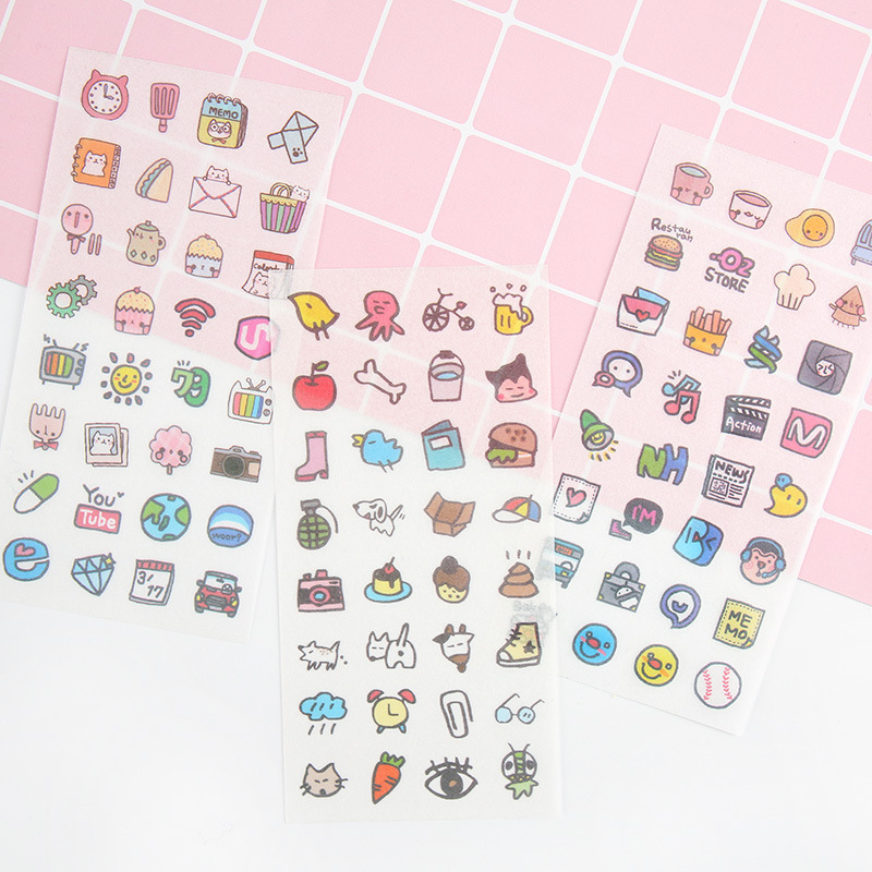 M23 6 Sheets /Pack Cute Little Things DIY Decorative Stickers Phone Bottle Sealing Decor Stick Label