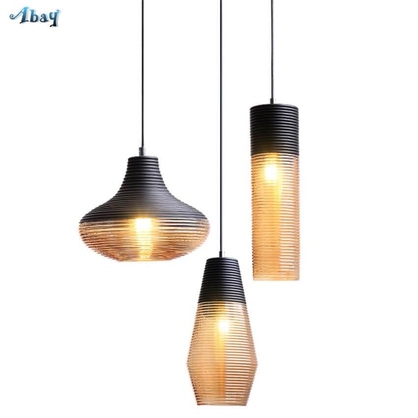 American vintage vis fil teinté verre pendentif lumières pour salon bar art déco salle à manger luminaires led accrocher lampe - 2