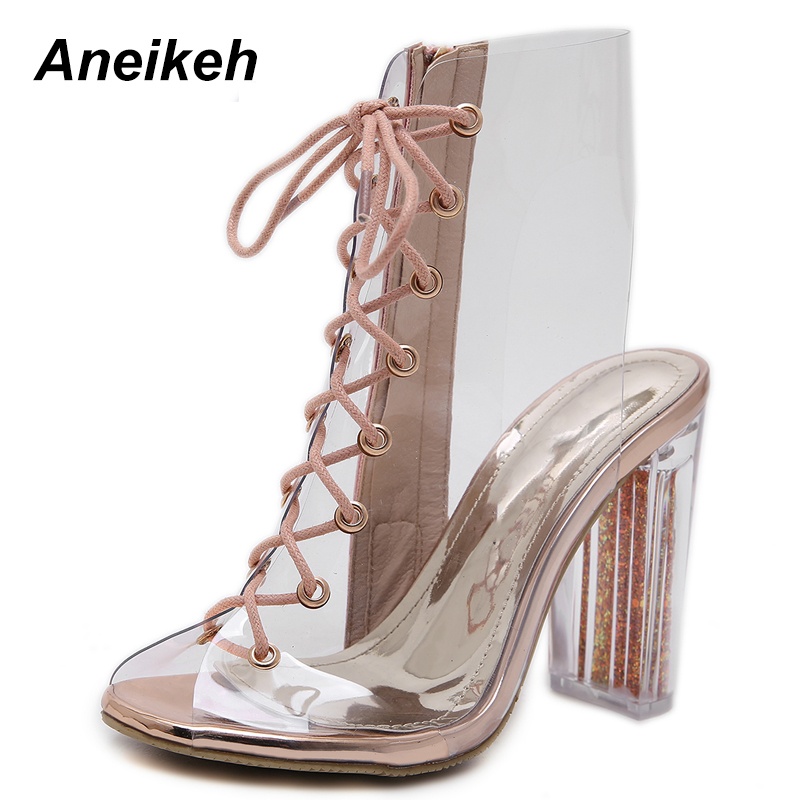 Aneikeh Women Transparent PVC Ankle Boots Sandal Open Toe Botas Mujer Gladiator High Heels Booties Fashion Bling Chunky HeelsAneikeh Women Transparent PVC Ankle Boots Sandal Open Toe Botas Mujer Gladiator High Heels Booties Fashion Bling Chunky Heels