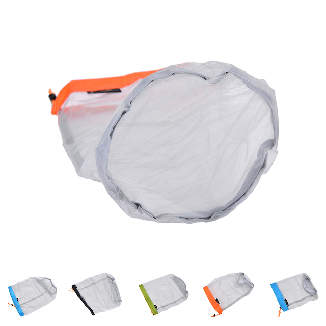 1Pc Portable Tavel Mesh Stuff Sack Drawstring Bag Travel Kit Accessories  5 Sizes 4