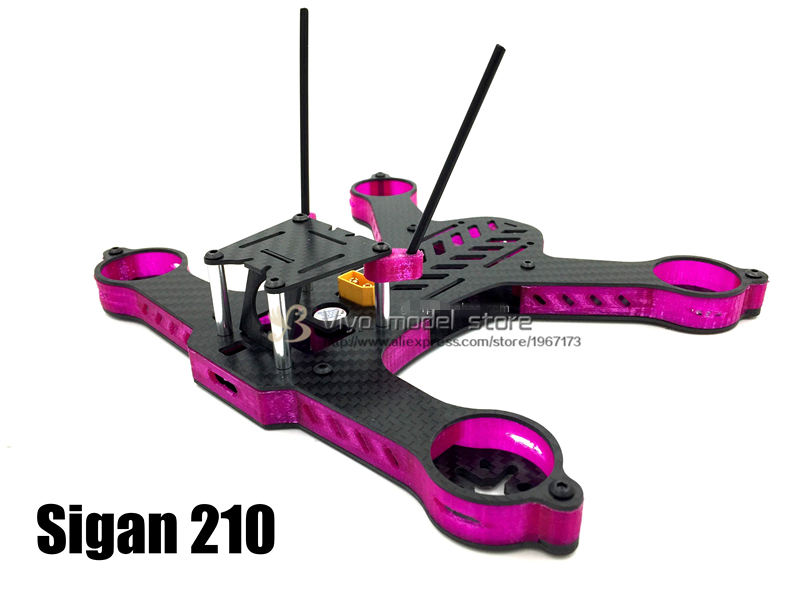 DIY FPV MINI 210mm Sigan210 Carbon Fiber GE-FPV RC Quadcopter Frame Kit awesome f100 100mm quadcopter frame kit wheelbase mini four axis aircraft pure carbon fiber for fpv rc racing drone frame kit