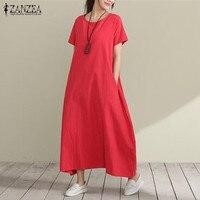 2017 ZANZEA Womens Vintage Summer O Neck Short Sleeve Cotton Solid Loose Long Shirt Dress Casual