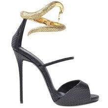Metallschlange Dekoration Frauen Schuhe Neuesten Mode Günstigen Preis Heißer Verkauf Beste Qualität Neue Designer Luxus Schlangenultradünnen Clip-out