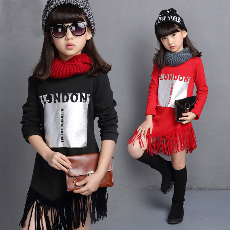 tassels girl dress long sleeve red black little teenage girls sweatshirt dresses autumn winter kids clothes children clothing