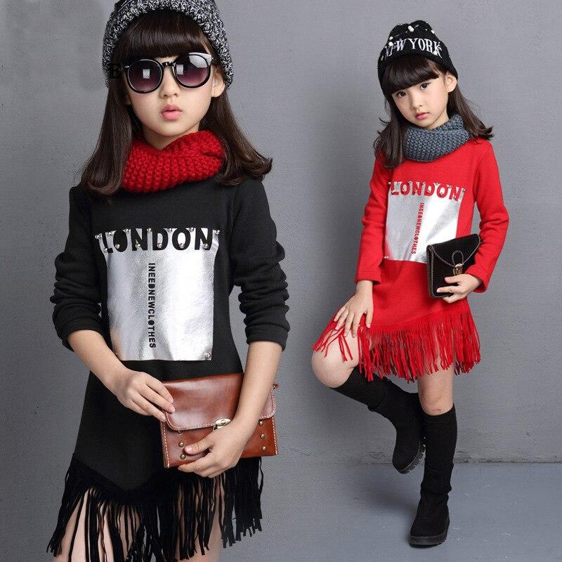 tassels girl dress long sleeve red black little teenage girls sweatshirt dresses autumn winter kids clothes children clothing