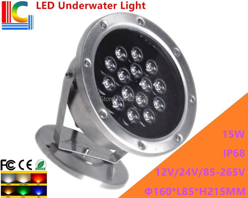 15W υποβρύχιο φως LED 12V 110V 220V περιστροφικό υποβρύχιο προβολέας IP68 αδιάβροχο εξωτερικό φως λάμπα λαμπτήρα 2 λίτρων / παρτίδα