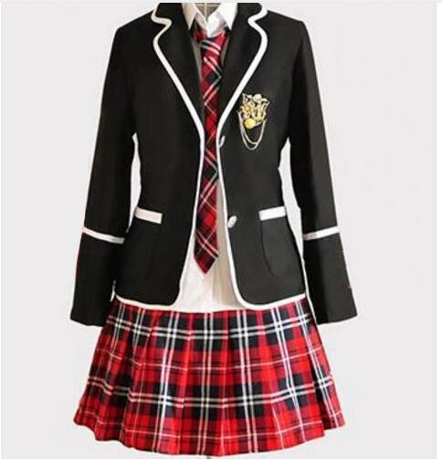 Girl Japanese School Uniform Cosplay Costume Black Red -1705