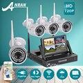 Anran plug and play 4ch wifi sistema de cámaras de vigilancia de vídeo + 7'lcd 1 tb hdd y p2p 720 p hd al aire libre + cubierta 36ir cámara de seguridad kit