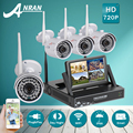 Anran plug and play wi-fi 4ch sistema de vigilância de vídeo da câmera + 7'lcd 1 tb hdd & p2p 720 p hd kit câmera de segurança 36ir exterior + interior