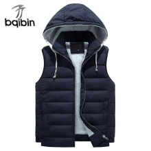 Plus Size 8XL Men Vest Detachable Hat Sleeveless Warm Waistcoat Male Winter Vest Cotton Padded Thicken Jacket Coat 7XL 6XL