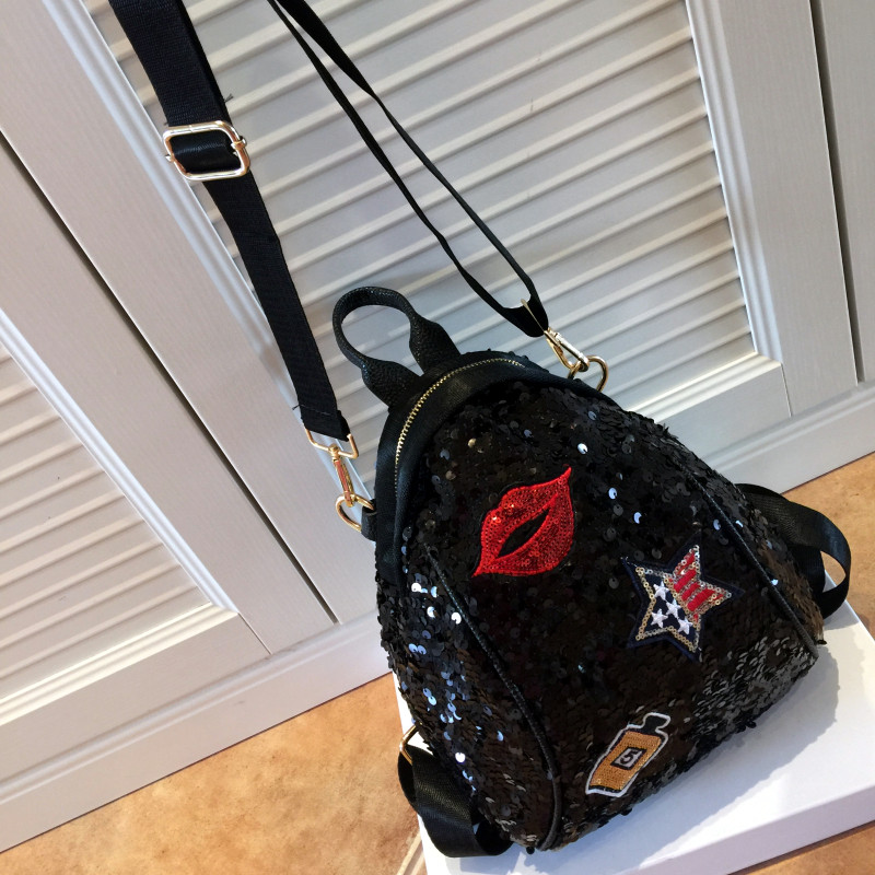 2019 Sequined Backpacks Teenager Girls PU Lips Bling Backpack Glitter Girls Travel Shoulder Bags School Bag Women backpacks 965 3