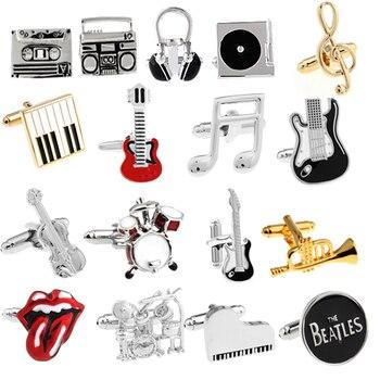 Free Shipping 18 Designs Guitar Cufflinks Music Design Musical Note Cuff Links Piano Bass Cuffs 1