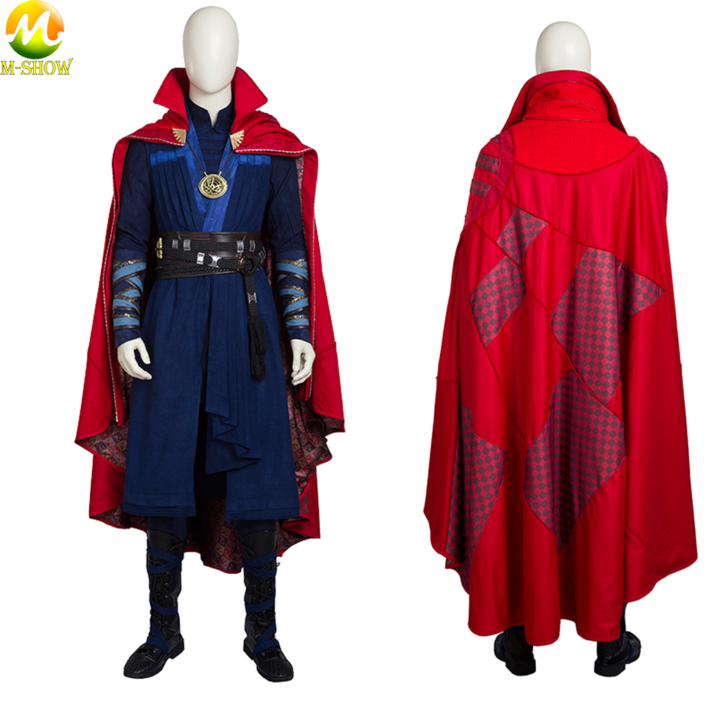 Doctor Strange Cosplay Costume Stephen Steve Vincent Cosplay Costume Doctor Strange Full Set Cloak Necklace Custom Made
