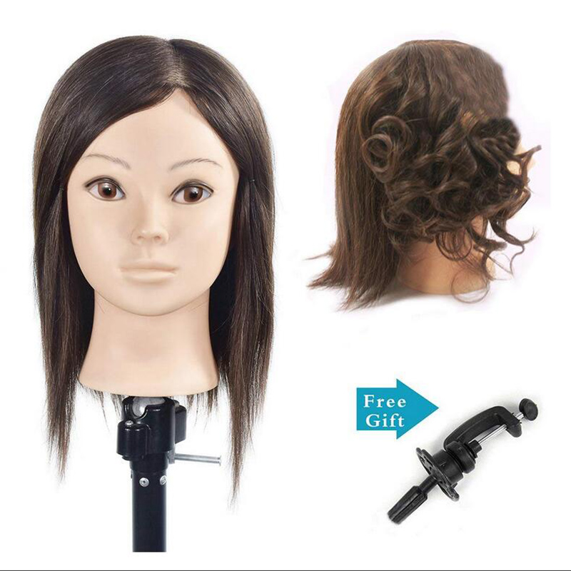 BoLi Training Head Hairdressing 100% Real Human Hair Styling Mannequin Manikin Doll (Table Clamp Holder Included) afro training head 10 100% human hair styling head cosmetology manikin mannequin head hairdresser doll head with free clamp