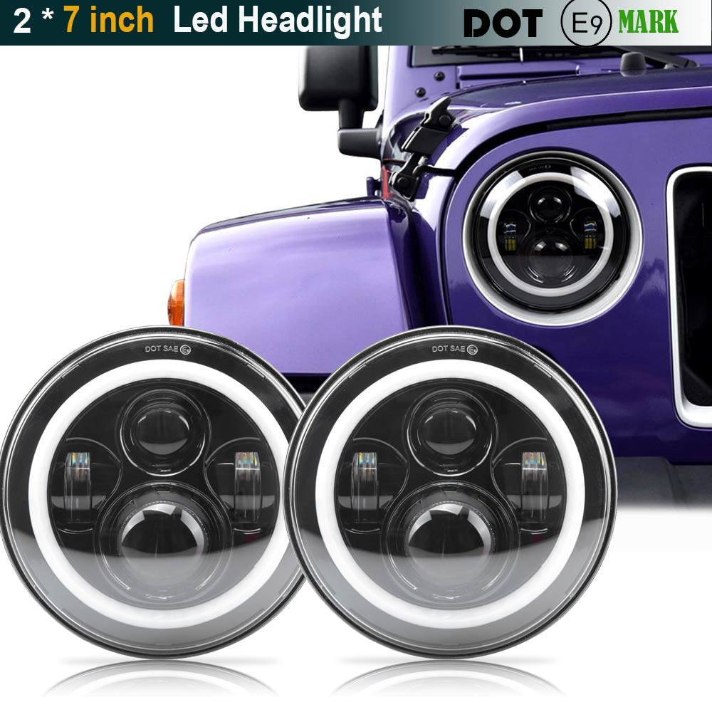 Pair For Harley JK Wrangler TJ 7 Inch Round LED Headlight White Halo Angel Eye / DRL Yellow Turn Signal LED Projection Daymaker pair for harley jk wrangler tj 7 inch round led headlight white halo angel eye drl yellow turn signal led projection daymaker