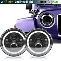 Pair For JK Wrangler TJ 7 Inch Round LED Headlight White Halo Angel Eye / DRL Yellow Turn Signal LED Projection