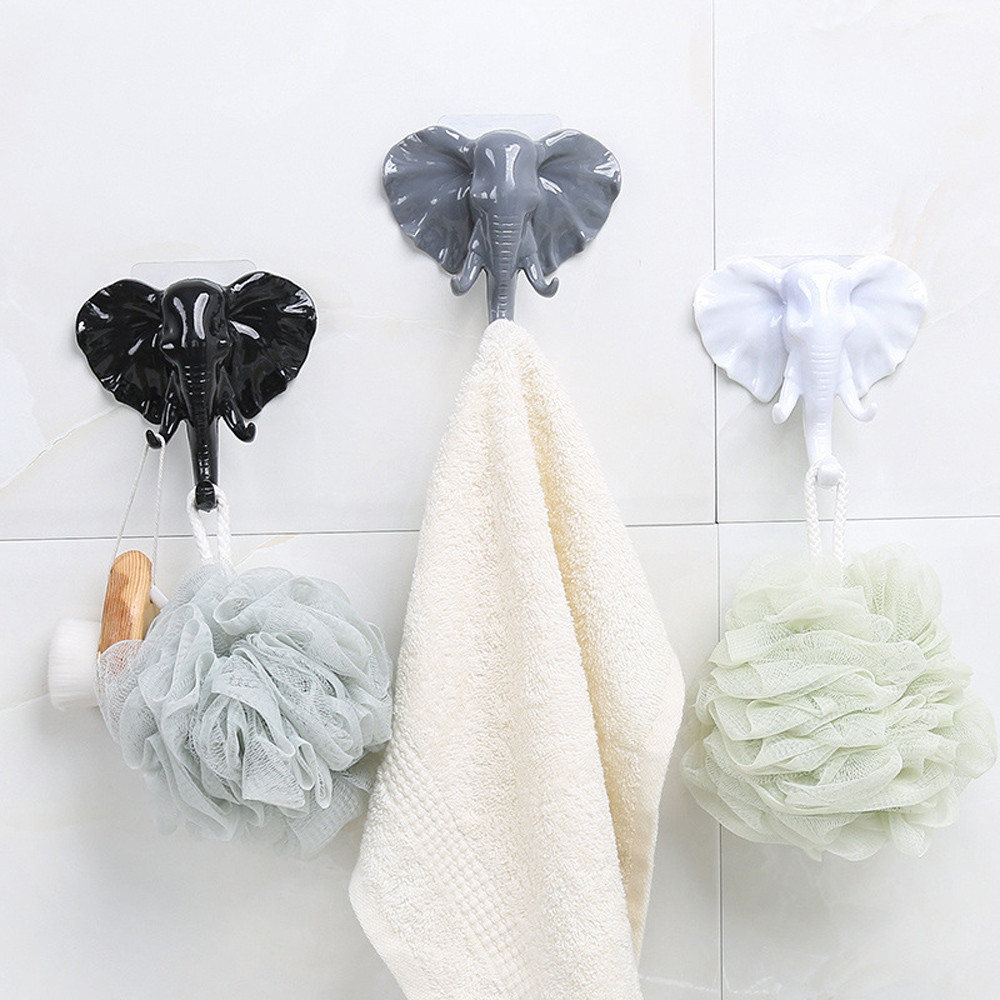 Elephant Head Animal Self  Clothing Display Racks Hook Coat Hanger Cap Show Door Wall Bag Keys Sticky Holder Room Decor^5