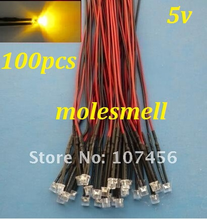 Free Shipping 100pcs Flat Top Yellow LED Lamp Light Set Pre-Wired 5mm 5V DC Wired 5mm 5v Big/wide Angle Yellow Led