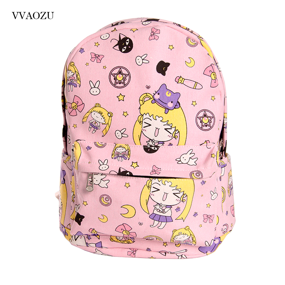 Cartoon Card Captor Sakura Canvas Backpack Sailor Moon Harajuku Students School Bag Rucksack For Teenage Girls Mochila Feminina anime card captor sakura the clow kero backpack girls shoulder bag pink cute travelling bag
