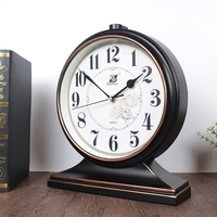 12 inch Silent Classic retro plastic Table Clock Quart Desktop Clock Art Creative Home Decoration Easy to read Battery Operated