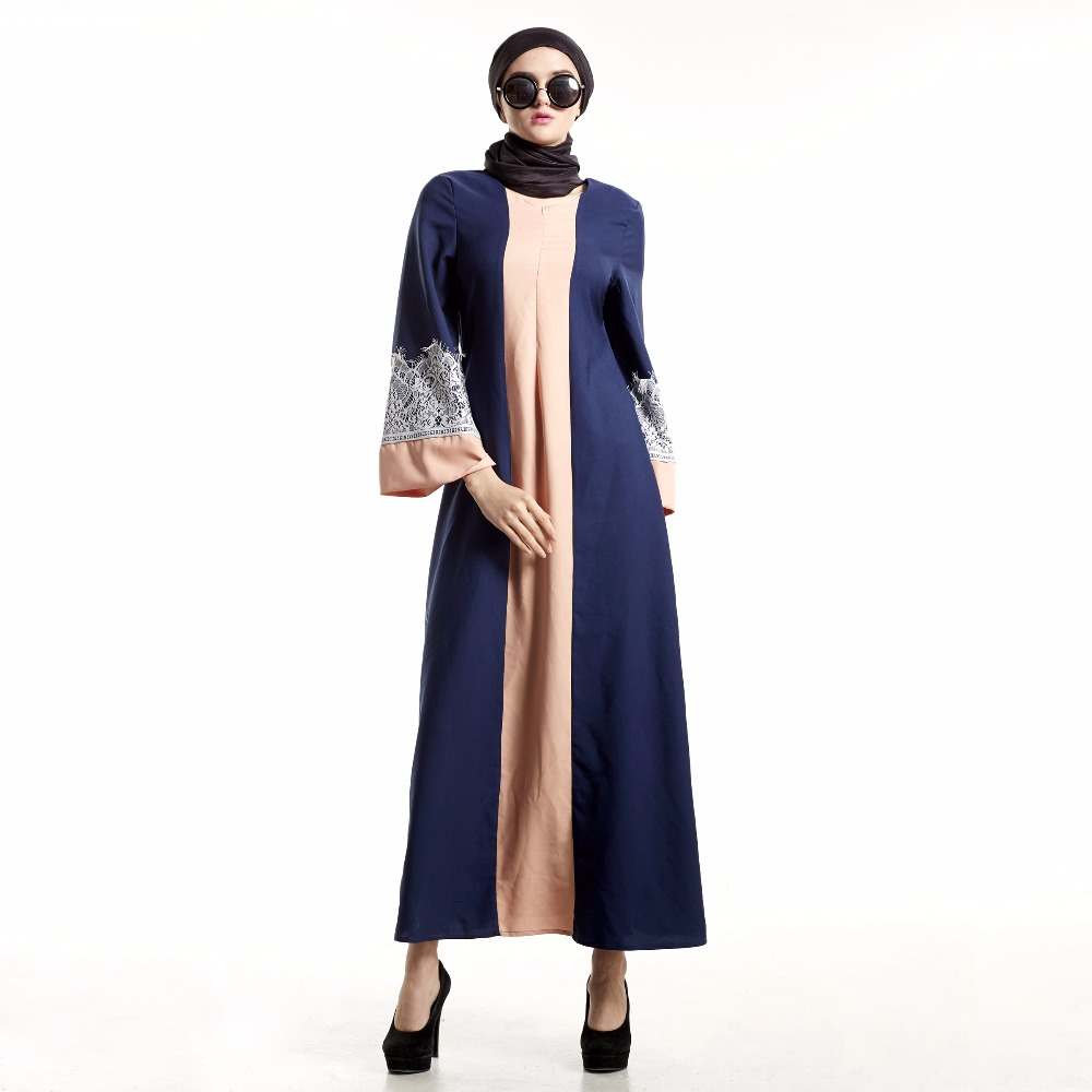 Abaya Dress Muslim Women Islamic Kaftan Lace Long Sleeve Dress ...