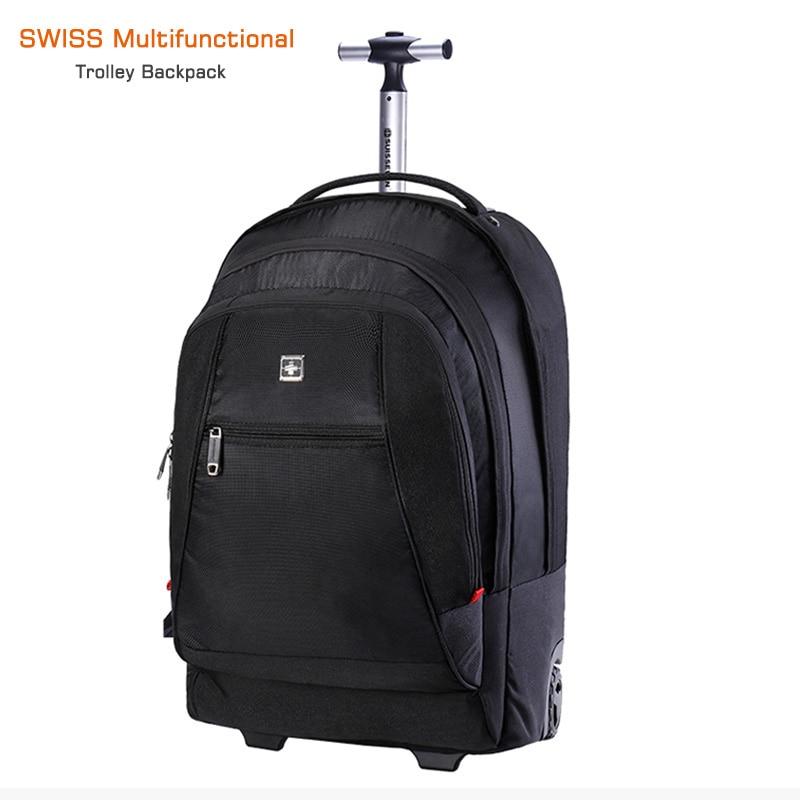 2 in 1 50L Trolley Backpack Business Travel Bag Large Capacity Waterproof Suitcase Laptop Backpack Swiss