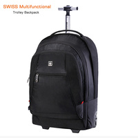 2 in 1 50L Trolley Backpack Business Travel Bag Large Capacity Waterproof Suitcase Laptop Backpack Swiss Multifunctional Luggage