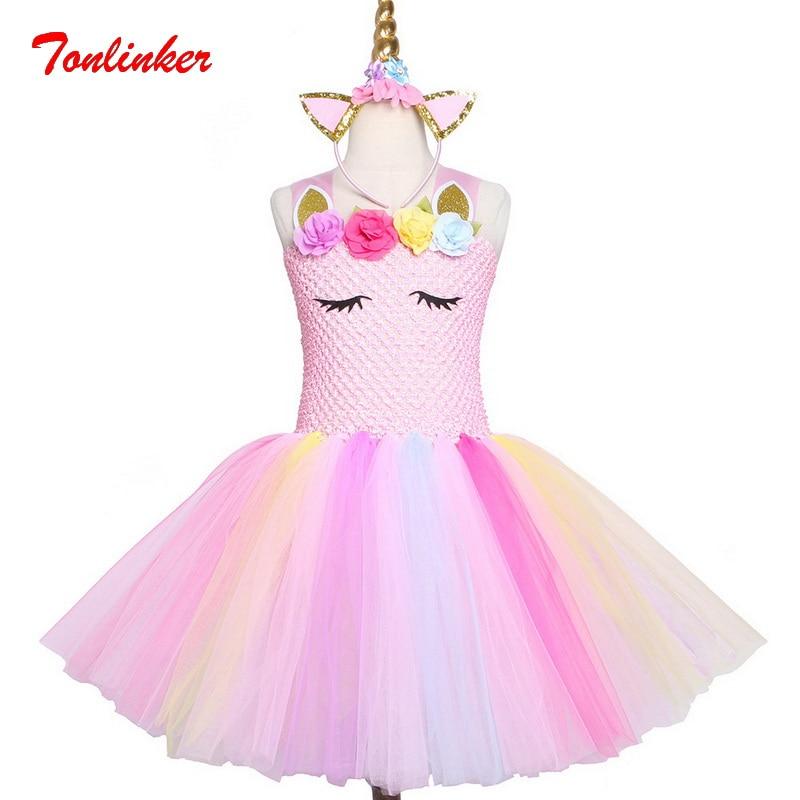 Girls Pink Unicorn Flowers Birthday Party Dresses Color Tulle Tutu Dress Hair Hoop Costume Theme