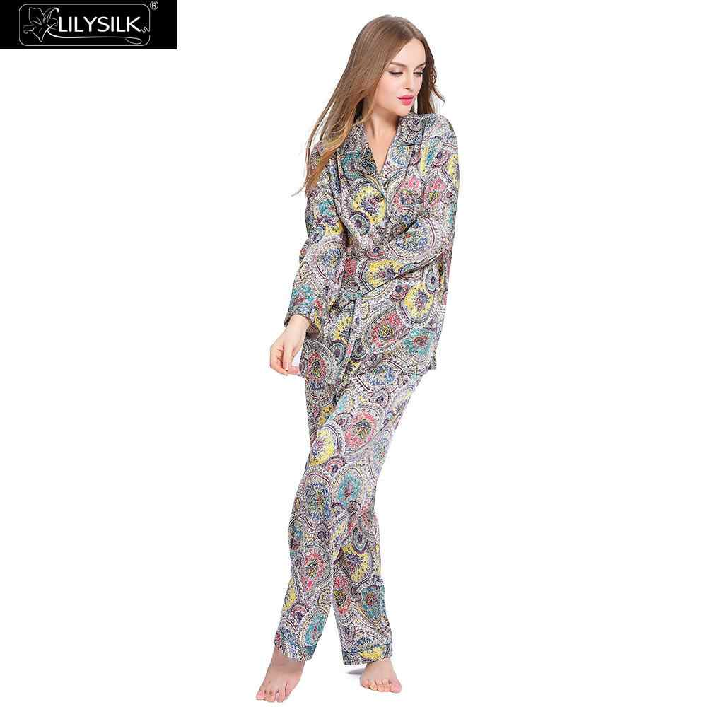 fa84b85c31af LilySilk Pajama Set for Women Pure 100 Silk Natural Sleepwear Combinaison  Vintage Long Sleeve Geometric 19