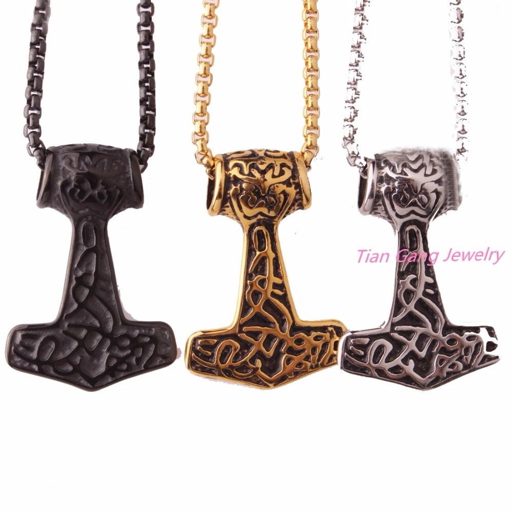 Jewelry & Accessories Classic Black Stainless Steel Viking Thor Hammer Pendant Necklace For Biker Mens Boys Fashion Jewelry Free Box Chain 24