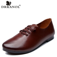 DRKANOL Spring Women Shoes Soft Bottom Genuine Cow Leather Casual Flats Loafers Comfortable Handmade Female