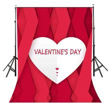 5x7ft Valentines Day Backdrop White Heart Pattern Red background Photography Background Studio Props