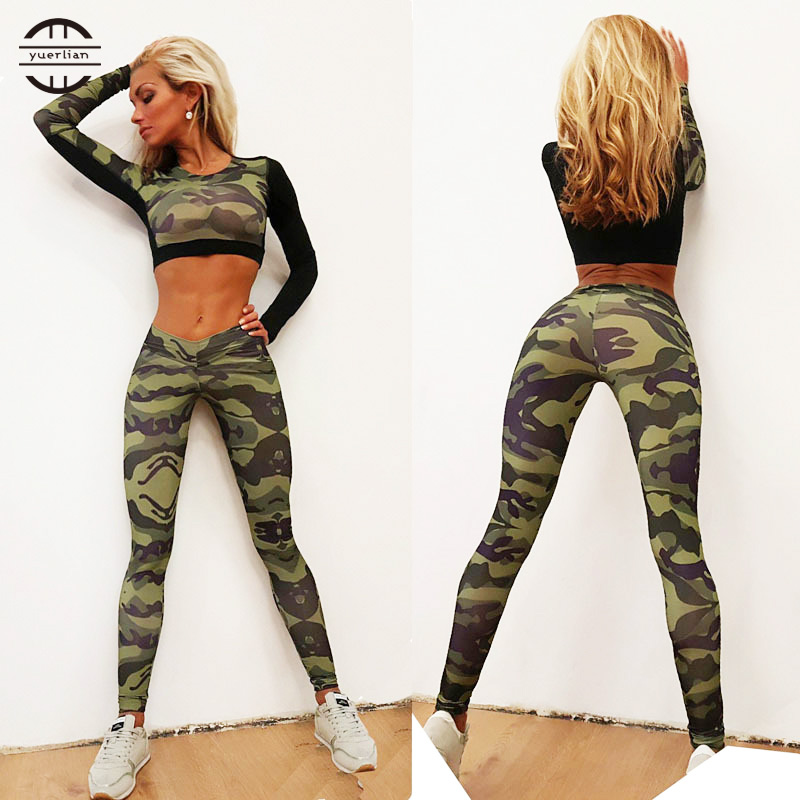 Brand New Camo <font><b>Sport</b></font> <font><b>Fitness</b></font> Tight <font><b>Sexy</b></font> <font><b>Sport</b></font> Suit 2 Piecs set Patchwork <font><b>Yoga</b></font> Shirt Pant <font><b>2018</b></font> Green Tracksuit For Women image