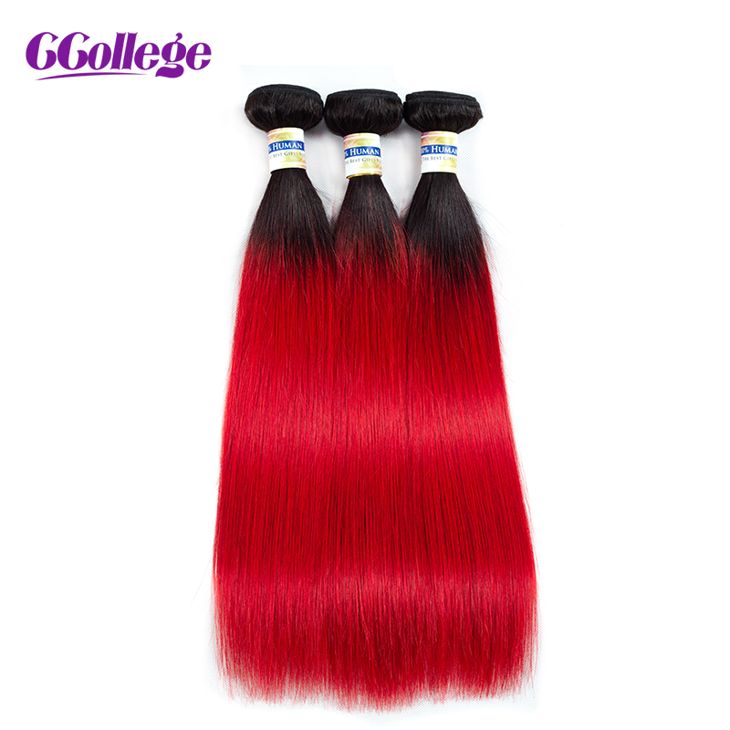 CCollege Ombre Hair Bundles Brazilian Straight Hair Bundles 3 Pcs lot T1B RED Natural Black Roots