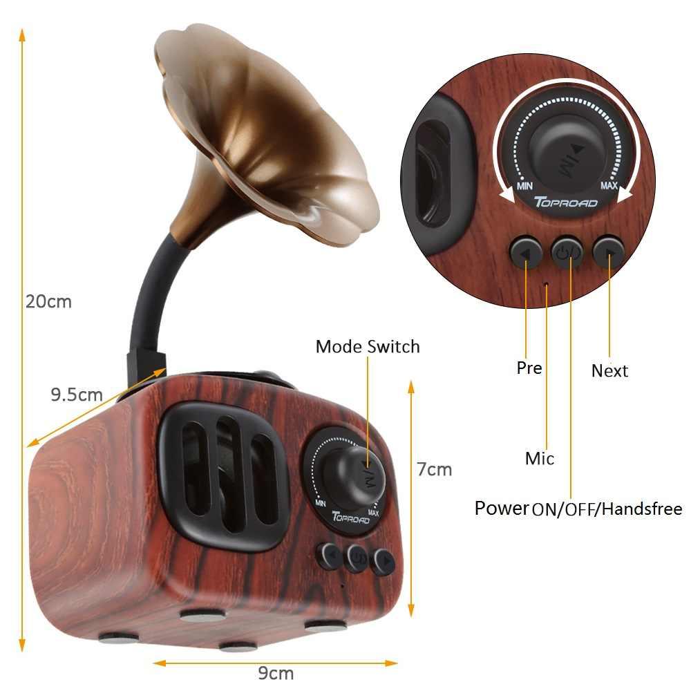 TOPROAD Retro Trumpet Gaya Bluetooth Speaker Nirkabel Subwoofer Stereo Musik Kotak Kayu Speaker dengan Mic FM radio TF untuk Telepon