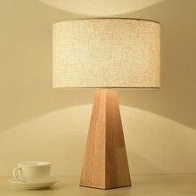 LukLoy деревянный простой светодиодный настольная лампа для спальни современный светодиодный настольная лампа украшение ткани Настольная лампа для учебы для офиса чтения освещения