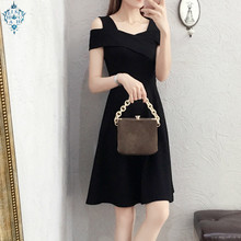 Ameision  Evening Dress Elegant Casual Simple Off shoulder Spaghetti Strap Long Dresses sexy temperament Gown