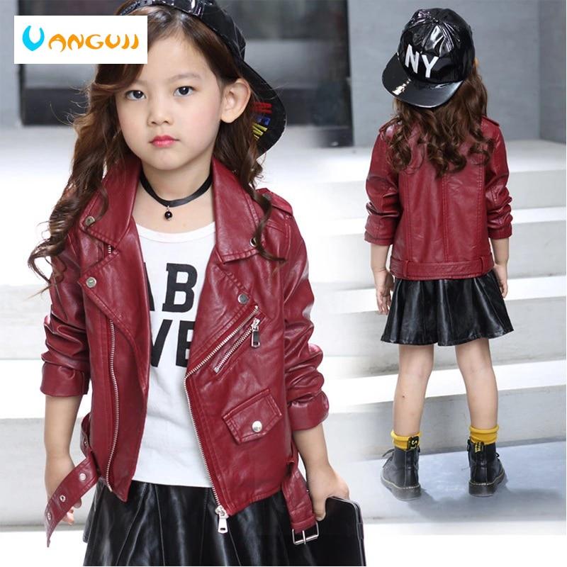 Детская куртка из искусственной кожи мотоциклетная куртка для девочек Детская верхняя одежда однотонный пояс из искусственной кожи на молнии модная куртка из искусственной кожи на весну и осень