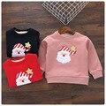 Retail 2016 Nueva Baby Girl Kids Niños de Dibujos Animados de Invierno Suéter Bordado de Espesor de Terciopelo Cálido Sudor Camisa de Los Niños Ropa de Navidad