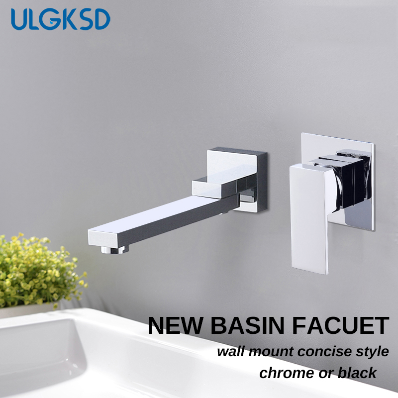 ULGKSD Basin Faucet Chrome/ Black Brass Hot and Cold Water Mixer Tap Single Handle Wall Mount Para Bathroom Sink Washing chrome polish wall mount bathroom sink tub faucet hot and cold water mixer tap