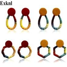 Exknl Long Rafi Weaved Wood Drop Earrings Women Korean Ethnic for Fashion Bohemian Party Jewelry 2019