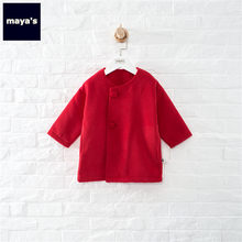 Mayas Spring Warm Girls Red Coats Full Sleeves Causal Fashion Loose Kids Jacket Solid Color Basic Cute Children Outwear 92103(China)
