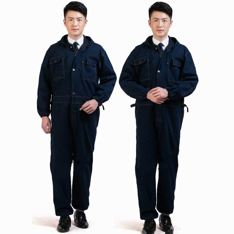 Mens Work Clothing Jeans Hooded Jumpsuit Long Sleeve Coveralls Overalls For Worker Repairman Dustproof Plus Size 3XL Top Quality plus size two tone layered hooded top